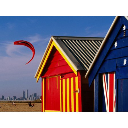 Brighton Party City (Beach Huts with Kitesurfer and City Skyline in the Background, Brighton Print Wall Art By Daniel)