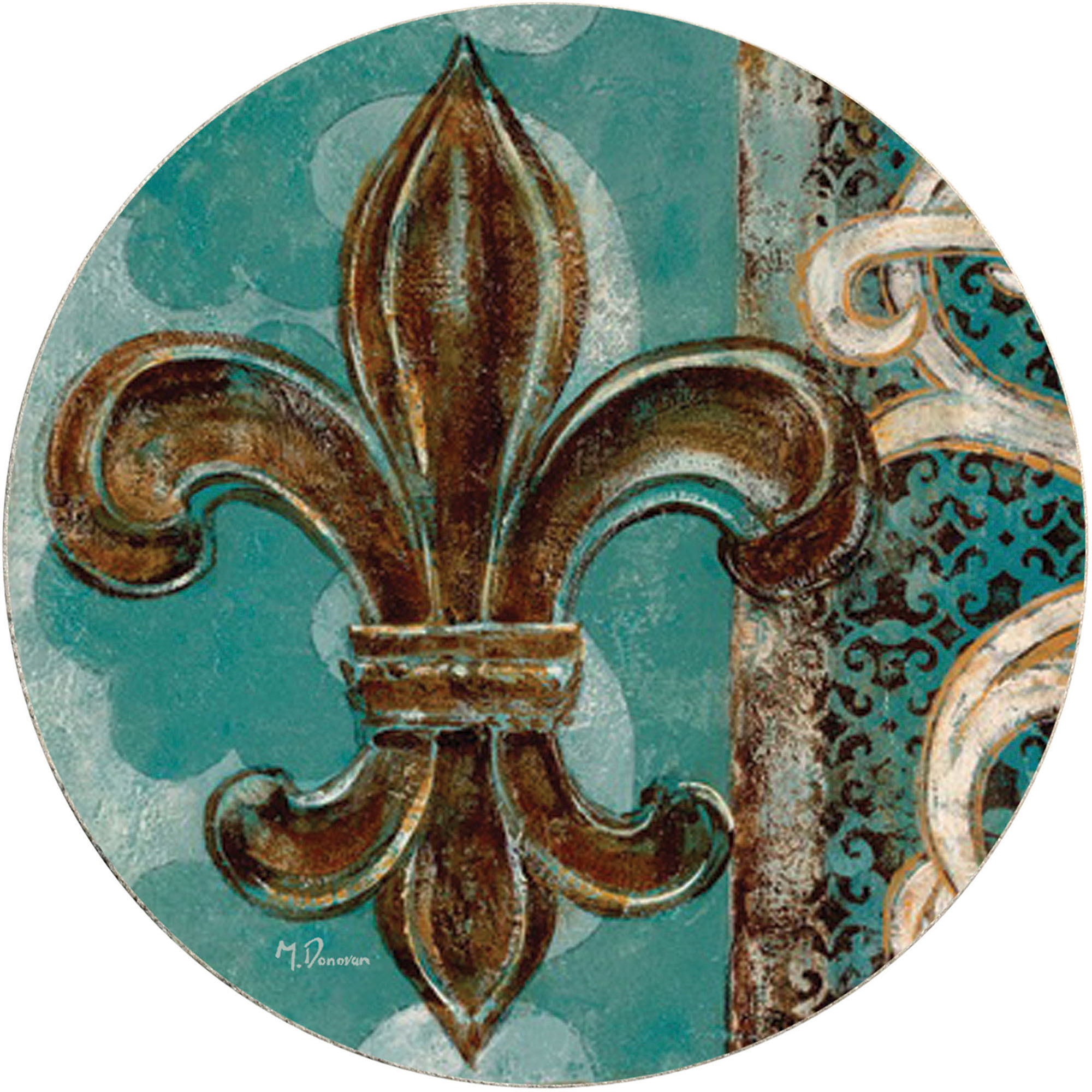 Thirstystone Drink Coasters Set Teal Fleur De Lis
