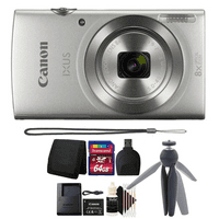 Canon Ixus 185 / Elph 180 20MP Digital Camera 8x Optical Zoom Silver with 64GB Accessory Kit