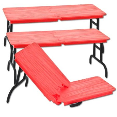 Set of 3 Red Break Away Tables for WWE Wrestling Action - Wwe Table Set