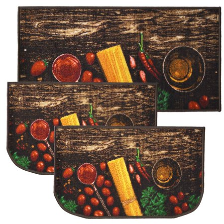 "pasta 3pc kitchen rug set, (2) slice 18""x30"" rugs, (1) 20"