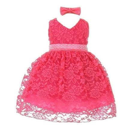 Little Girls Hot Pink Rose Lace Overlaid Beaded Headband Flower Girl Dress (Hot Pink Flower Girl Dresses)