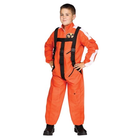 Childrens Star Pilot Orange Jumpsuit With Adjustable Straps Halloween Costume