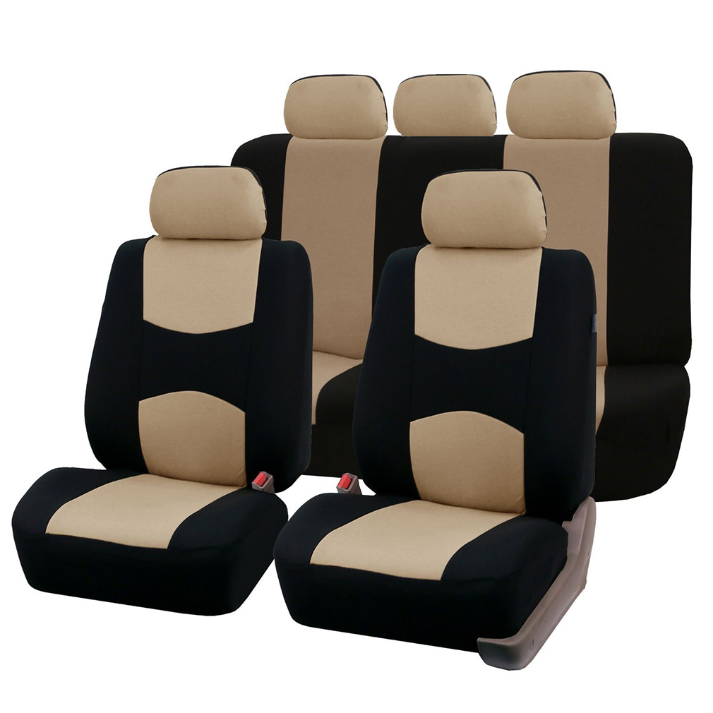 Front Rear Universal Car Seat Covers Auto Car Seat Covers Vehicles Accessories Beige