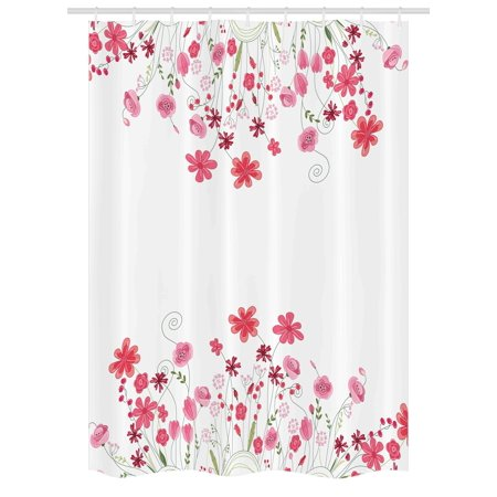 Flower Stall Shower Curtain, Detailed Contour Herbs and Blossoms Bridal Style Pure Simplistic Floral Theme, Fabric Bathroom Set with Hooks, 54W X 78L Inches, Pink Green White, by Ambesonne](Wine Themed Bridal Shower)