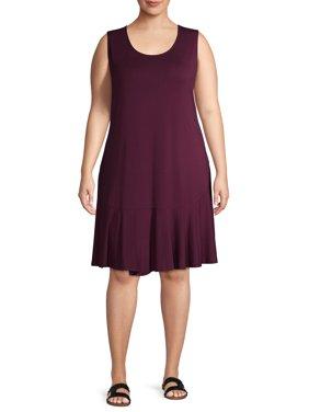 Terra & Sky Women's Plus Size Sleeveless Knit Peplum Dress