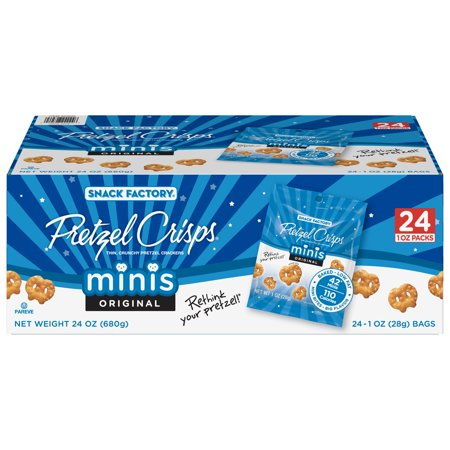 Snack Factory Pretzel Crisps Original Minis, Single-Serve 1 Oz, 24 Ct