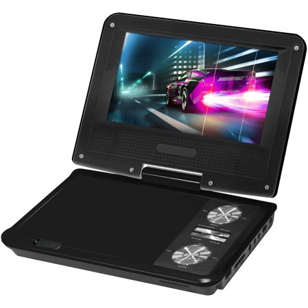 Impecca DVP775K 7 Inch Swivel Portable Dvd Player Black