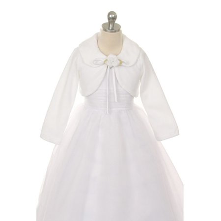 White Flower Special Occasion Fleece Bolero Jacket Girl 6 - Special Occasion Jacket