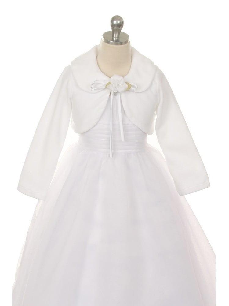 Kids Dream White Flower Special Occasion Fleece Bolero Jacket Girl 6