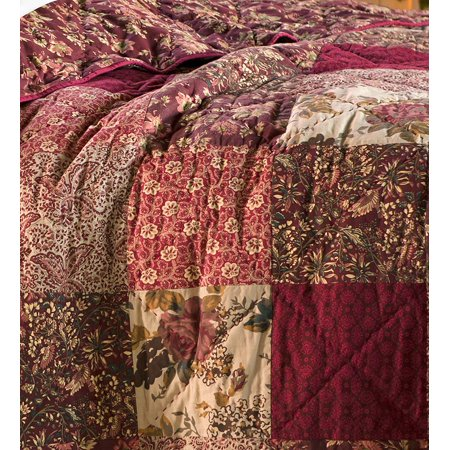 Cranberry Floral Patchwork Throw Blanket