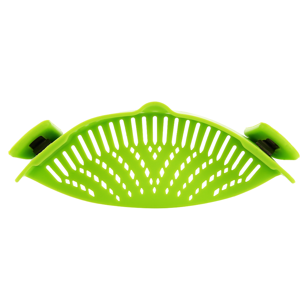 Clip-on Green Silicone Pasta Snap Strainer Dishwasher Safe Colander Universal Size Fit Most Pans Suitable for Draining Pasta Vegetables Potatoes etc