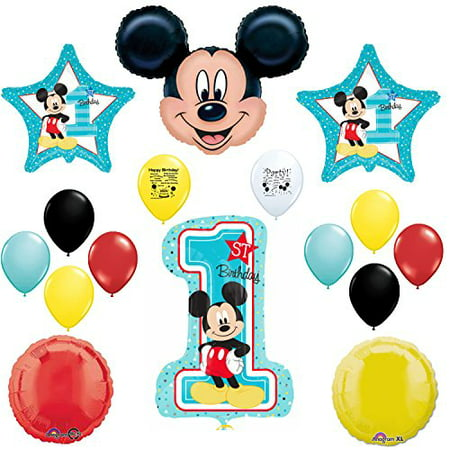 Mickey Mouse Party Supplies 1st Birthday Party Deluxe Balloon Set](Mickey Mouse Halloween Party Birthday Invitations First)