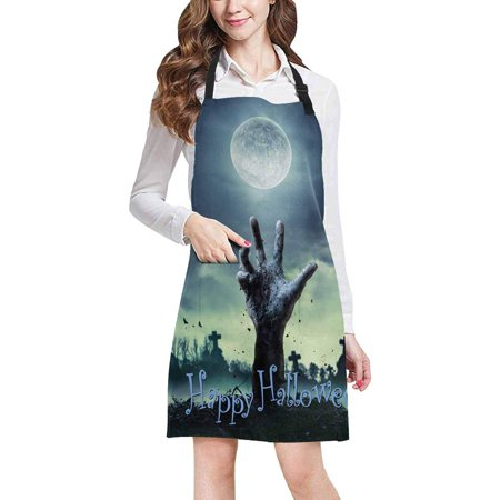 ASHLEIGH Halloween Theme Zombie Hand Rising Unisex Adjustable Bib Apron with Pockets for Women Men Girls Chef for Cooking Baking Gardening Crafting](Halloween Themed Cooking Ideas)