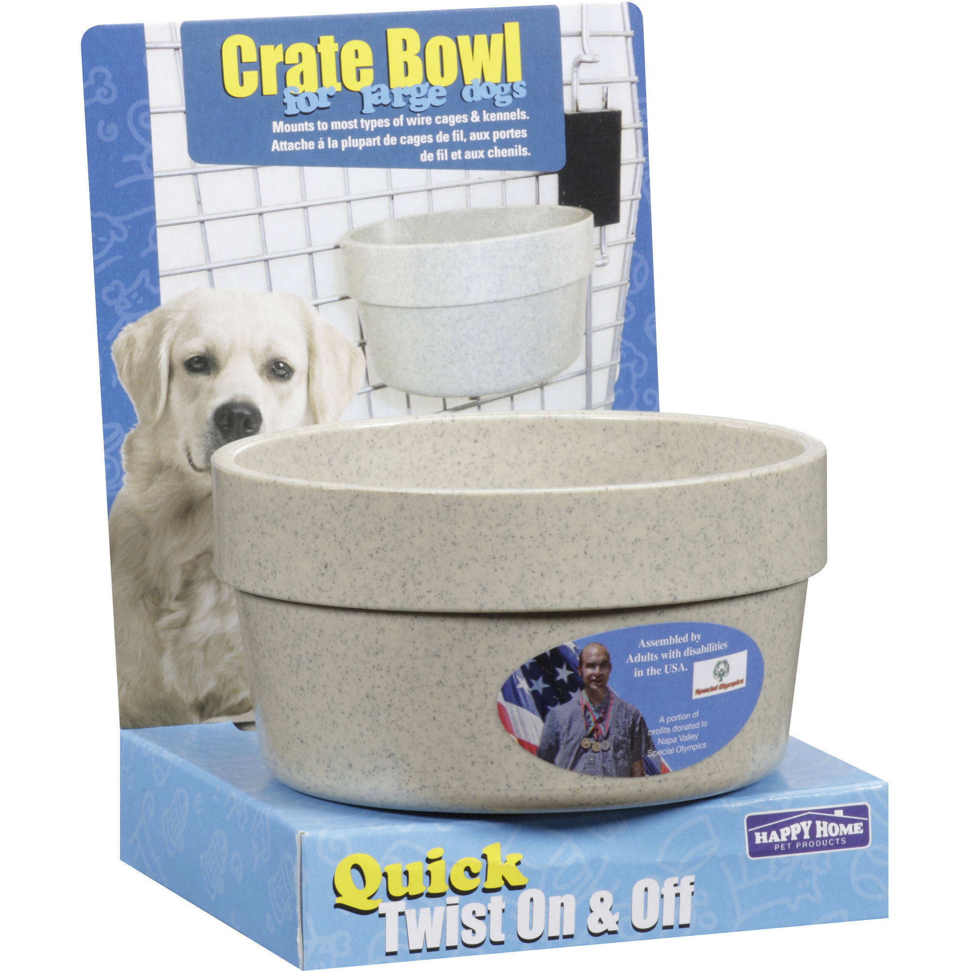 Happy Home Pet Products Dog Crate Bowl For Large Dogs, 1ct