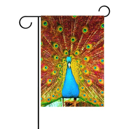 POPCreation Painting of Beautiful Peacock Garden Flag Peacock Feather Outdoor Flag Home Party 28x40 inches