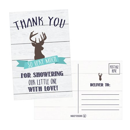 50 4x6 Rustic Deer Baby Shower Thank You Postcards Woodland Animals Bulk, Modern Cute Boho Blank Thanks Note Card For Girl or Boy Stationery Appreciation Set](Girly Stationery)