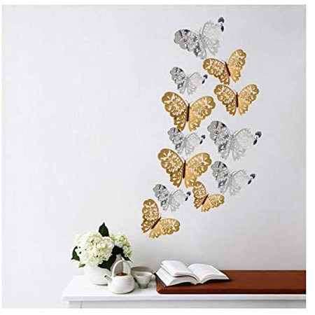 48pcs 3d Butterfly Removable Mural Stickers Tanoky Hollow Out Butterfly Wall Decals Decor Diy Wall Stickers For Bedroom Living Room Decoration Dark Blue Walmart Canada