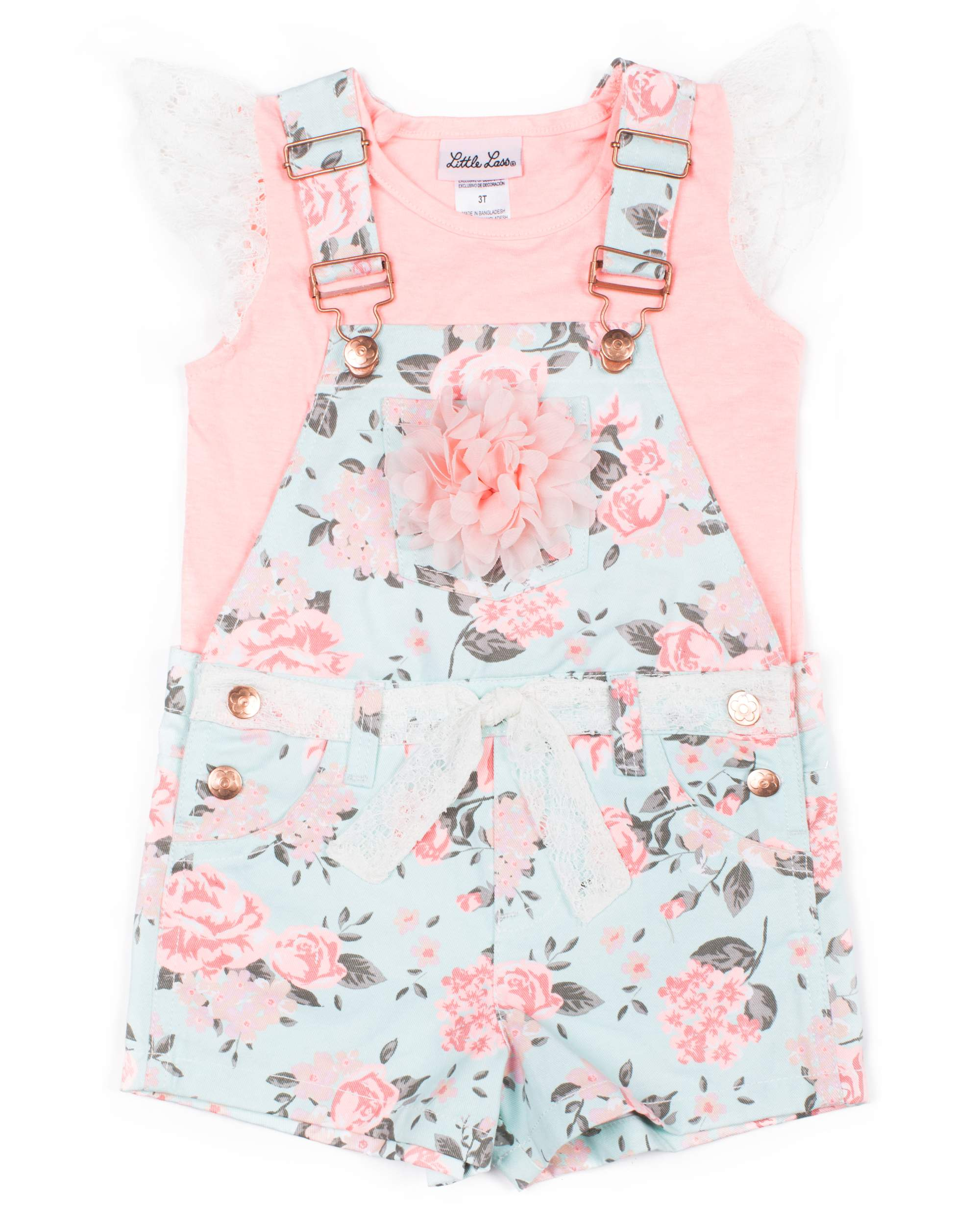 Floral Twill Shortall and Lace Tee, 2-Piece Outfit Set (Little Girls)