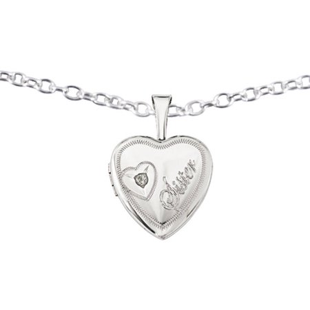 Sterling Silver and Diamond Sister Heart 12mm Heart Locket