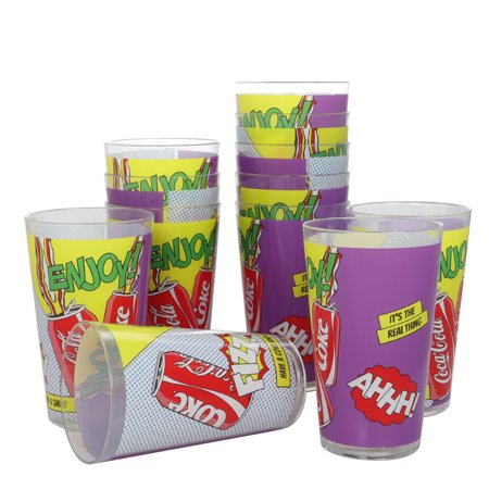 Coca-Cola Pop Art 19 oz. Melamine Tumbler Set, Set of - Coca Cola Tumbler