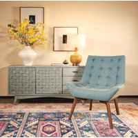 Work Smart Six Shelly Tufted Chair in Sea Fabric with Coffee Legs