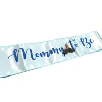 Mustache Boy Blue Baby Shower Sash Keepsake Mom to Be Gift Party Decoration