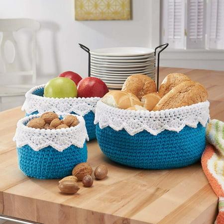 Crochet Yarn Walmart : ... Yarn Lace-Topped Kitchen Baskets (Set of 3) Crochet Yarn Kit - Walmart