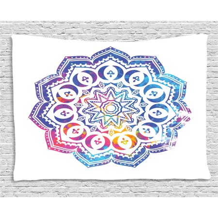 Chakra Tapestry, Kaleidoscopic Oriental Mandala Design Double Exposure Effect of Soft Colors, Wall Hanging for Bedroom Living Room Dorm Decor, 80W X 60L Inches, Azure Blue and Pink, by