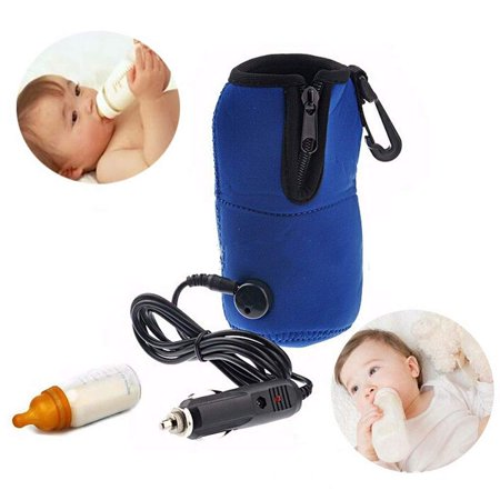 Car DC12V Baby Bottle Warmer, LNKOO Portable Baby Feeding Bottle Water Milk Cup Heater Warmer Heated Cover for Travel