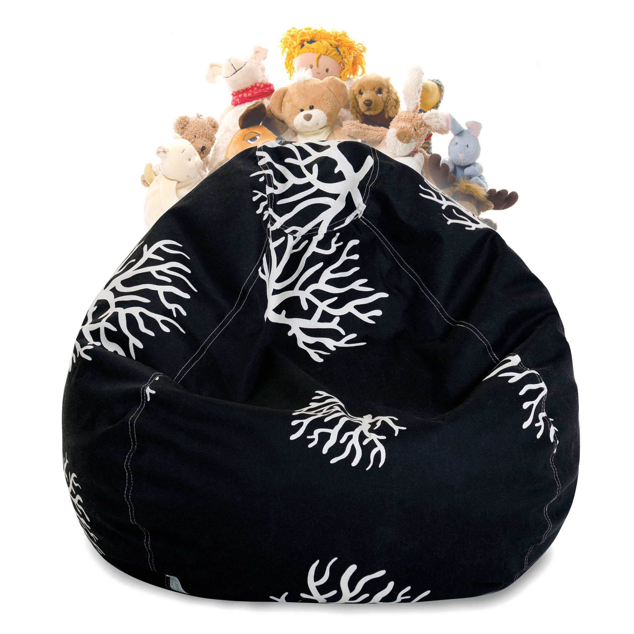Majestic Home Goods Coral Stuffed Animal Storage Bean Bag