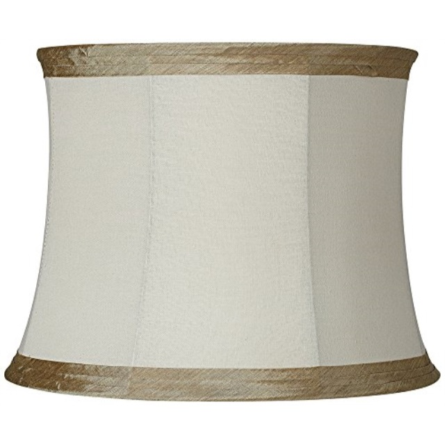 Ivory Linen with Taupe Trim Lamp Shade 14x16x12 Spider