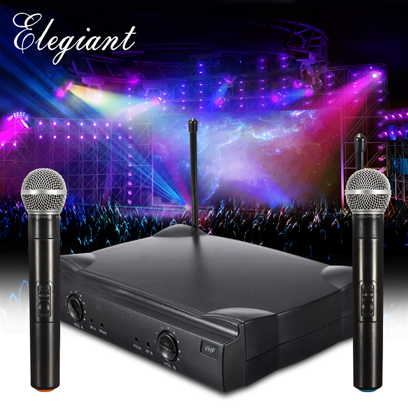 ELEGIANT VHF Dual Channel Microphone System with Adjustable Volume Control 2 Handheld Cordless Microphone for Home KTV Conference Karaoke Recording