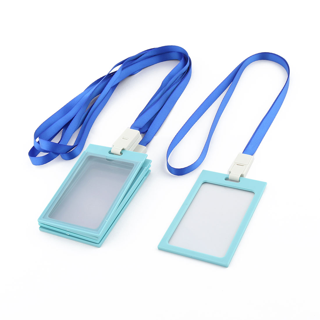 Workplace Neck String Lanyard Vertical ID Card Holder Case Container Blue 5 Pcs