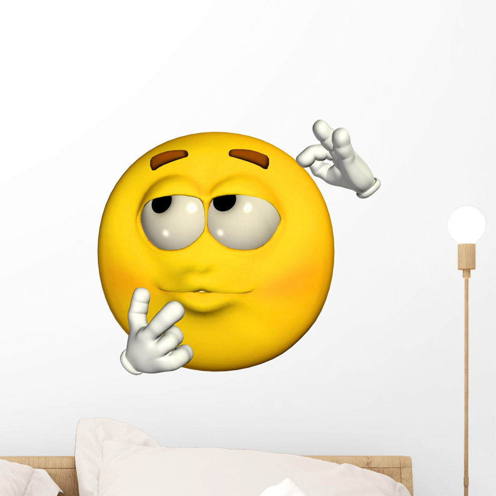 Emoticon Wondering Wall Mural by Wallmonkeys Peel and Stick Graphic (18 in W x 16 in H) WM116206