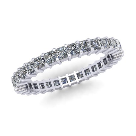 Natural 1.80Ct Princess Cut Diamond Shared Prong Women's Anniversary Wedding Eternity Band Ring Solid 10k White Gold G-H I1