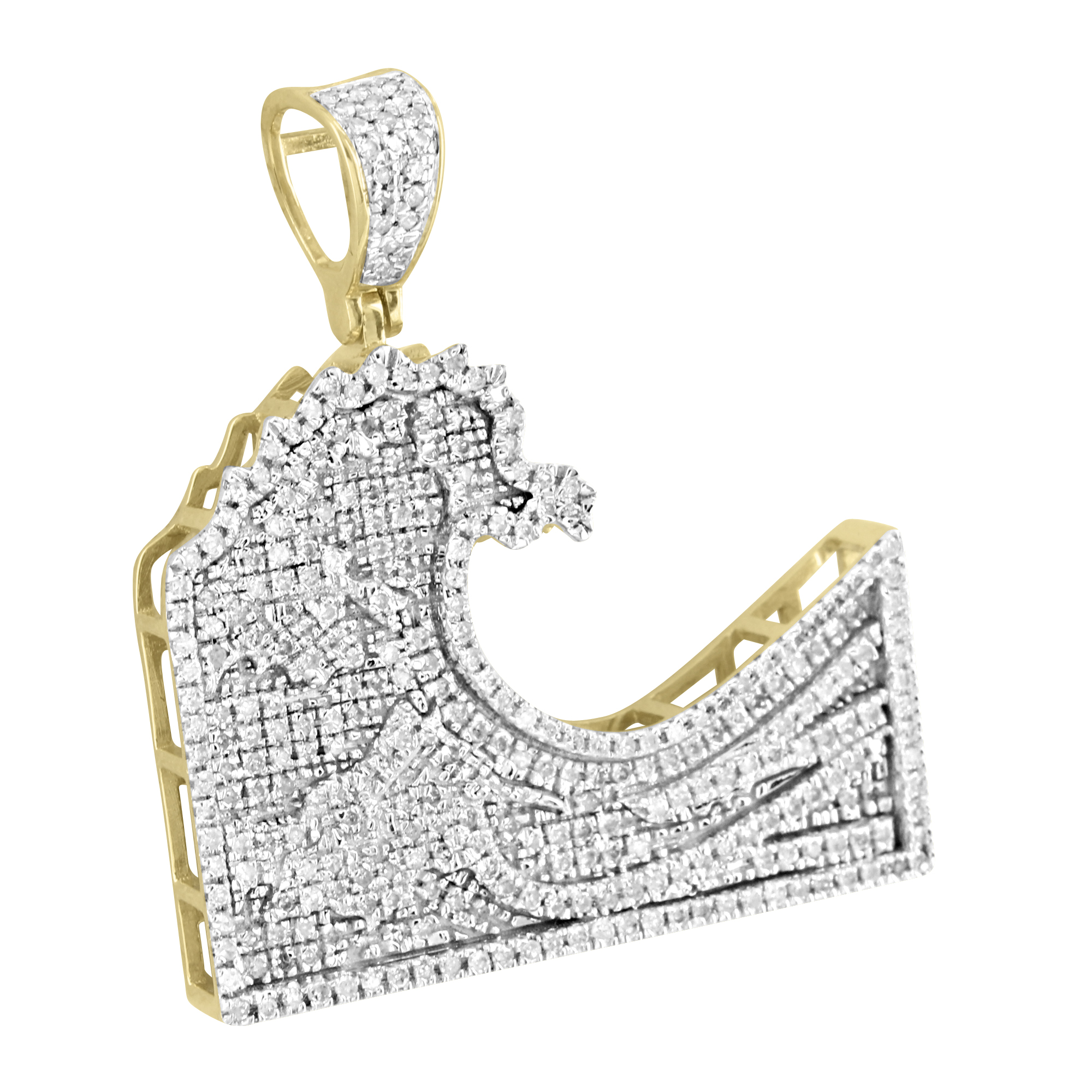 custom mens charm real emoji set pendant pave wave gold diamonds ip yellow