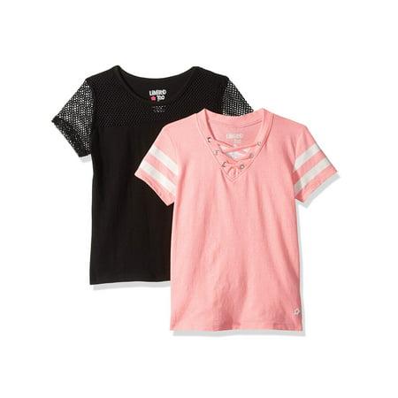 Varsity Stripe and Mesh Tees, 2-Pack (Little Girls & Big - Kids Varsity