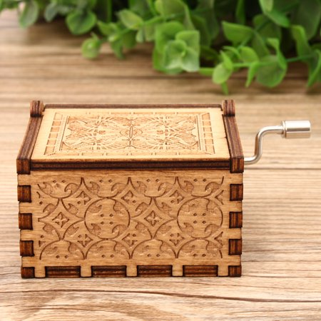 Retro Hand Crank Collectible Music Box Engraved Wooden Theme Toys Birthday Craft