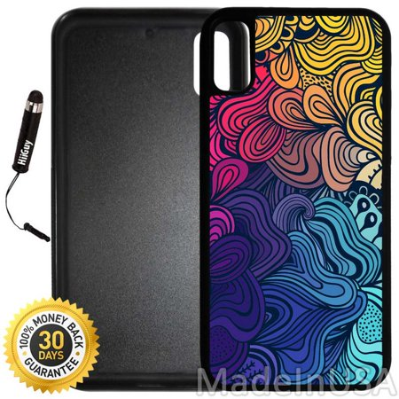 Custom iPhone X/10 Case (A637) Edge-to-Edge Rubber Black Cover with Shock and Scratch Protection | Lightweight, Ultra-Slim | Includes Stylus Pen by (A637 Phone)