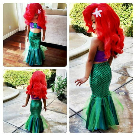 Kids Ariel Little Mermaid Set Girl Princess Dress Party Cosplay Costume ()