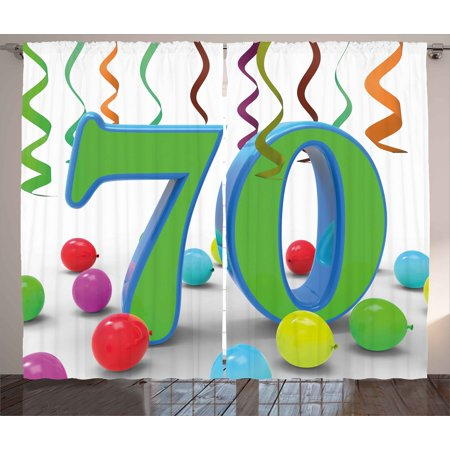 70th Birthday Decorations Curtains 2 Panels Set, House Party Theme Colorful Balloons Curls Fun Image, Window Drapes for Living Room Bedroom, 108W X 90L Inches, Fern Green and Blue, by Ambesonne - 70th Decorations