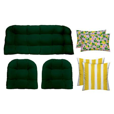 RSH Décor Designer Choice Indoor / Outdoor Lemon Coordinating 7 Piece Wicker Set ()