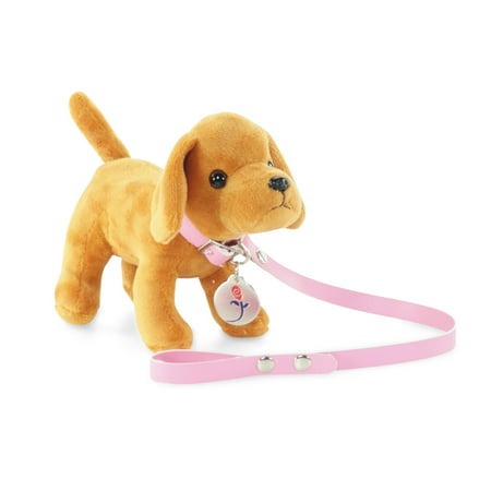 18-inch Doll Accessories | Brown Puppy Dog with Leash, Collar and Dog Tag | Fits American Girl Dolls