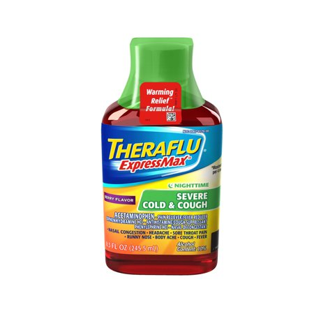 Cough Relief Syrup - Theraflu ExpressMax Severe Cold & Cough Nighttime Berry Warming Relief Formula Syrup for Cough & Cold Relief, 8.3 oz
