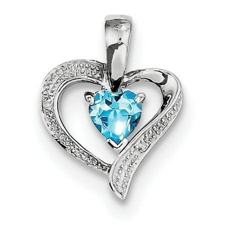 - SS Rhodium Plated Diamond Light Swiss Blue Topaz Heart Pendant 1.06ct