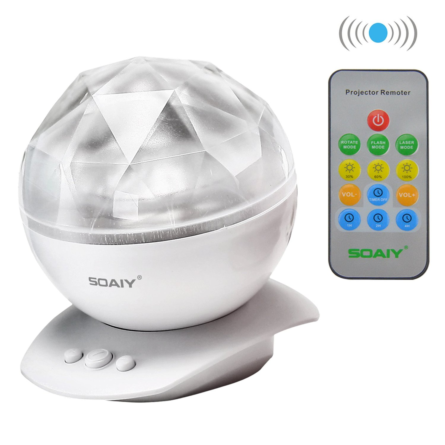 SOAIY LED Color Changing Aurora Master Wave Ocean Music Projector Lamp Night Light Soothing Relaxing USB Speaker with Remote, White, Thanksgiving Day Gift