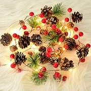 Christmas Garland with Pinecone Red Berry with Fall Decor Garland Lights Indoor Outdoor Thanksgiving Decorations Christmas Party, Lights Battery Operated