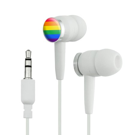 Rainbow Pride Gay Lesbian Contemporary Novelty In-Ear Earbud Headphones - White