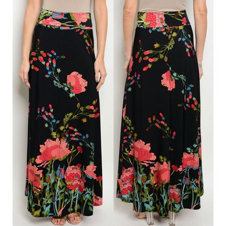 cbfa7f50d57ef JED FASHION - JED FASHION Women's High Waist Floral Print Maxi Skirt -  Walmart.com